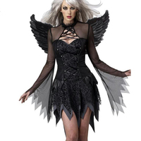 New 2016 Fantasias Black Adult Fallen Angel Costume Flattering Corset Party Dress LC8845 Halloween Costumes For