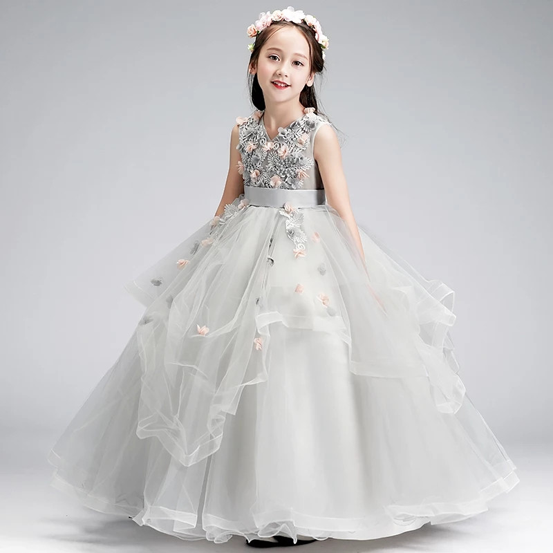 Luxury Children Girls Flowers Long Prom Gowns Teenagers Party Clothing Dress Kids Evening Formal Dress for Bridesmaid WeddingLuxury Children Girls Flowers Long Prom Gowns Teenagers Party Clothing Dress Kids Evening Formal Dress for Bridesmaid Wedding