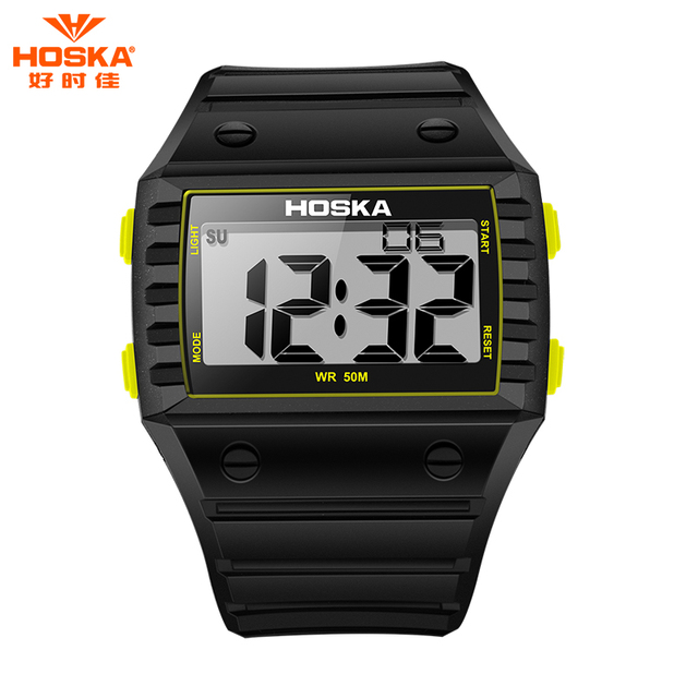 2017 HOSKA Brand Fashion Children Digital Watch Black Blue Yellow Rubber Plastic Band Shockproof Waterproof Digital-Watch H033