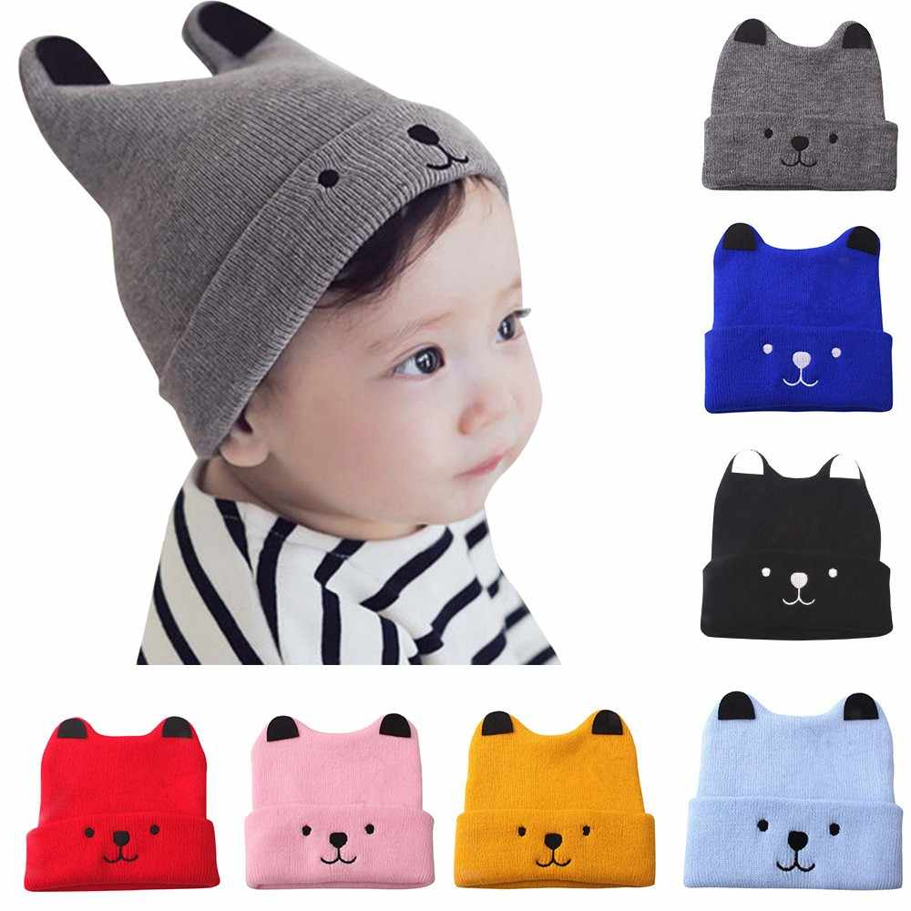 d160ca23a795b8 New Autumn baby boy and girl knit hat winter baby warm bear cartoon cap children  wool