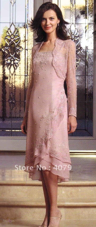 Moda madre de la novia vestido rosa de gasa chaqueta Appliqued manga ...
