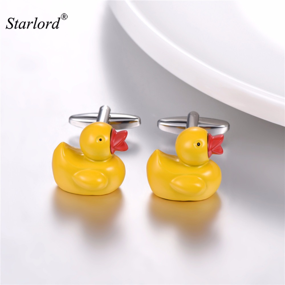 Rubber Duck Cufflinks For Men Silver Color Child Cufflinks Duck Cufflinks Gift For <font><b>BF</b></font>/Father/Groom Cuff Buttons C2880 image