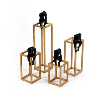 Denken von Rodin Skulptur Postmodernen Denker Kleine Schwarz Metall Edelstahl Rahmen Home Dekoration Zimmer Figur Schmuck