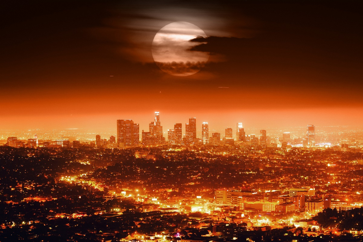 Los Angeles city night landscape lights moon living room home wall modern art decor wood frame poster KE588
