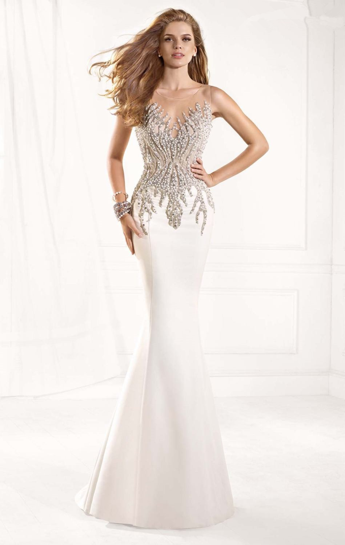 Elegant White Mermaid Long   Prom     Dresses   2015 Cheap vestidos de festa special occasion   dresses   Beading Nude Evening   Dresses