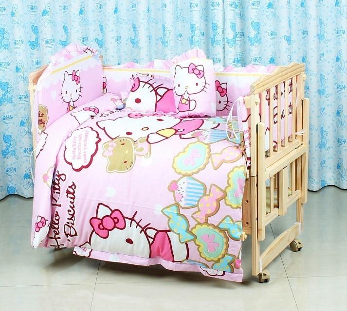 Фото Promotion! 6PCS Cartoon Baby crib bedding set 100% cotton baby bedclothes,unpick(3bumpers+matress+pillow+duvet). Купить в РФ