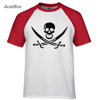 Pirates Of The Caribbean Tops Pirate Flag Skull Tops T Shirt Men Raglan Sleeve Cotton T