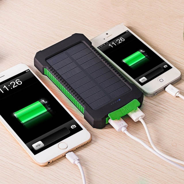 <font><b>Solar</b></font> <font><b>Power</b></font> <font><b>Bank</b></font> Real 20000 mAh Dual USB External <font><b>Waterproof</b></font> Polymer Battery Charger Outdoor Light Lamp Powerbank Ferisi image