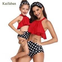 Девушка для женщин в горошек юбка с оборками с завышенной талией воланами разделение бикини купальный костюм танкини пляжная одежда ванный комплект Maillot
