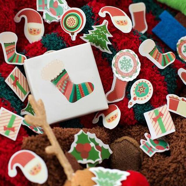 50 pcs new creative santa claus de noël fenêtre portable album vitrine cookies autocollants maison décoration