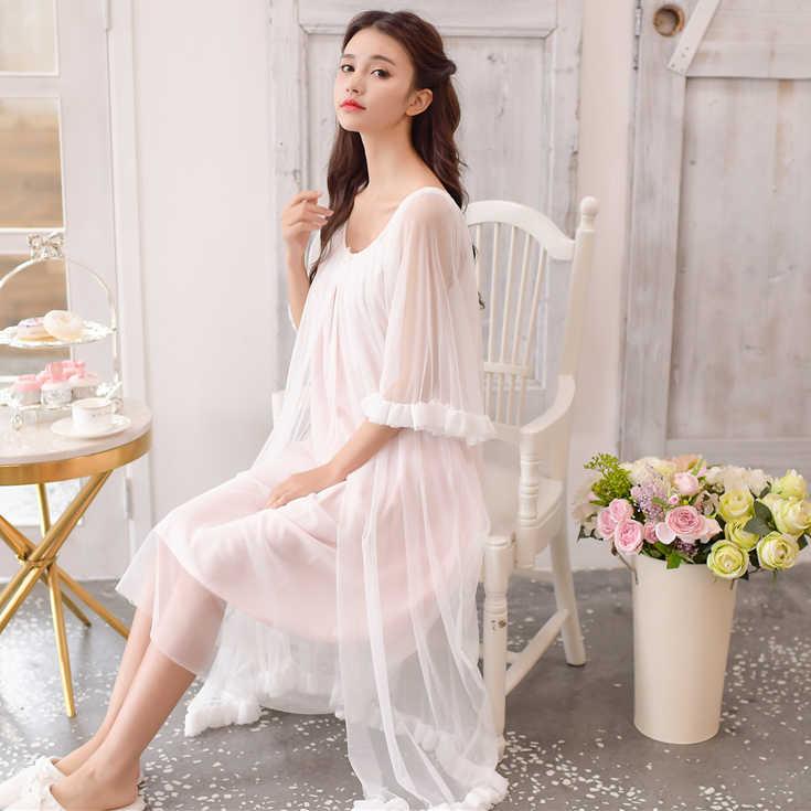 e6a4097558271 ... 2018 Autumn 2PICS Vintage sleepwear Modal lining nightgown Princess  design nightgown long lace nightdress Arab Lady ...