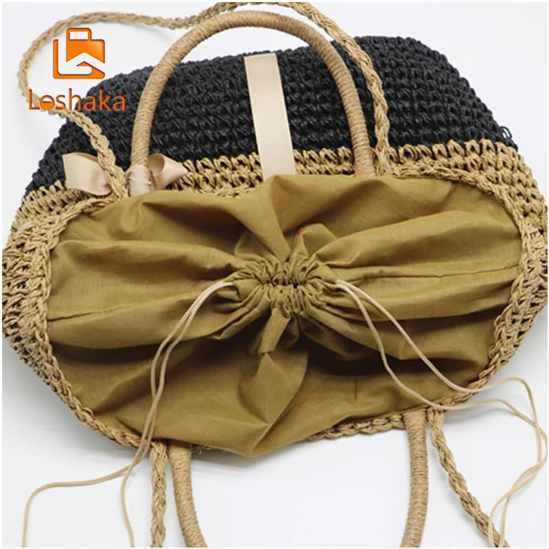 LOSHAKA käsi kootud õlgkott naised õlakott vabaaja kott naiste - Käekotid - Foto 4