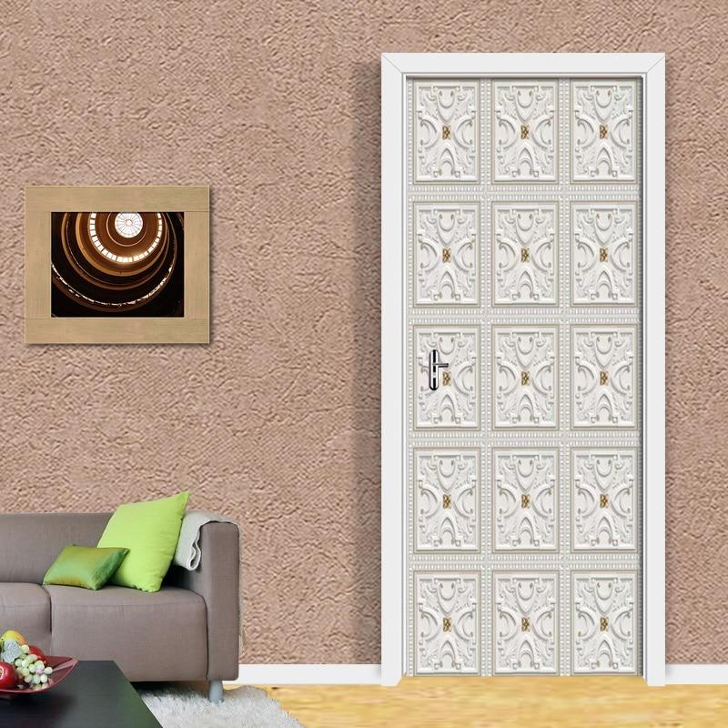 European White Pattern DIY Self-adhesive Door Sticker PVC Waterproof Wall Mural Wallpaper For Bedroom Living Room Door 3D Decals