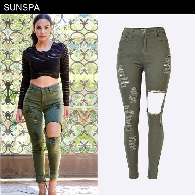 79803680dd46 SUNSPA hole ripped jeans women Army green denim jeans for girl High waist  Jeans skinny casual pants female summer New