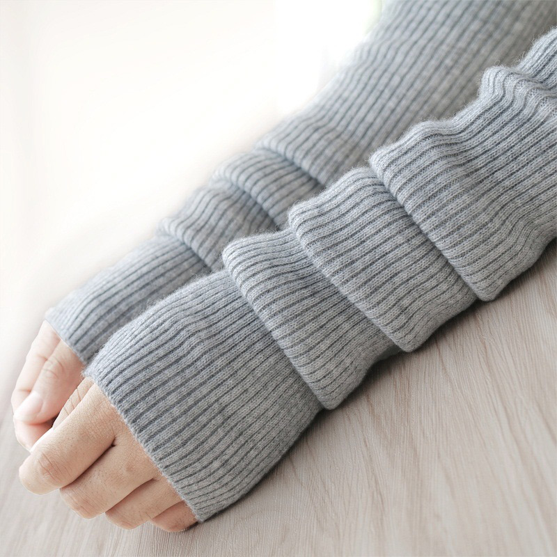 Warmers Arm-Sleeve Fingerless-Gloves Knitted Winter Long Women's Autumn Woolen Solid