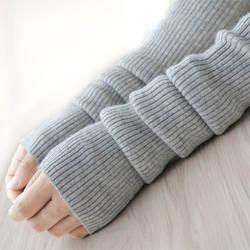 Осень Зима 40 50 60 см Женская Шерсть митенки для женщин трикотажные шерстяные рукав твердые тонкие длинные вязанные перчатки-митенки оптовая
