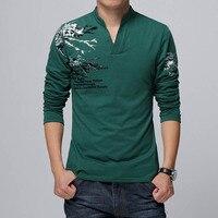 2016 New Fashion Brand Trend Print Slim Fit Long Sleeve T Shirt Men Tee V Neck