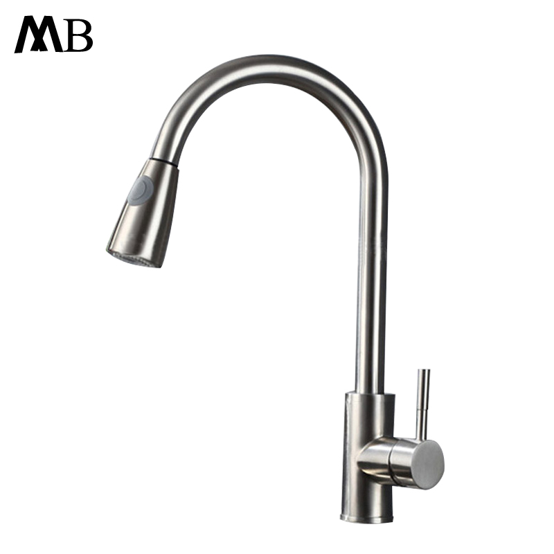 Sus304 Stainless Steel Kitchen Faucets Brushed Mixer Water: Single Handle Kitchen Faucet Mixer Pull Out Kitchen Tap