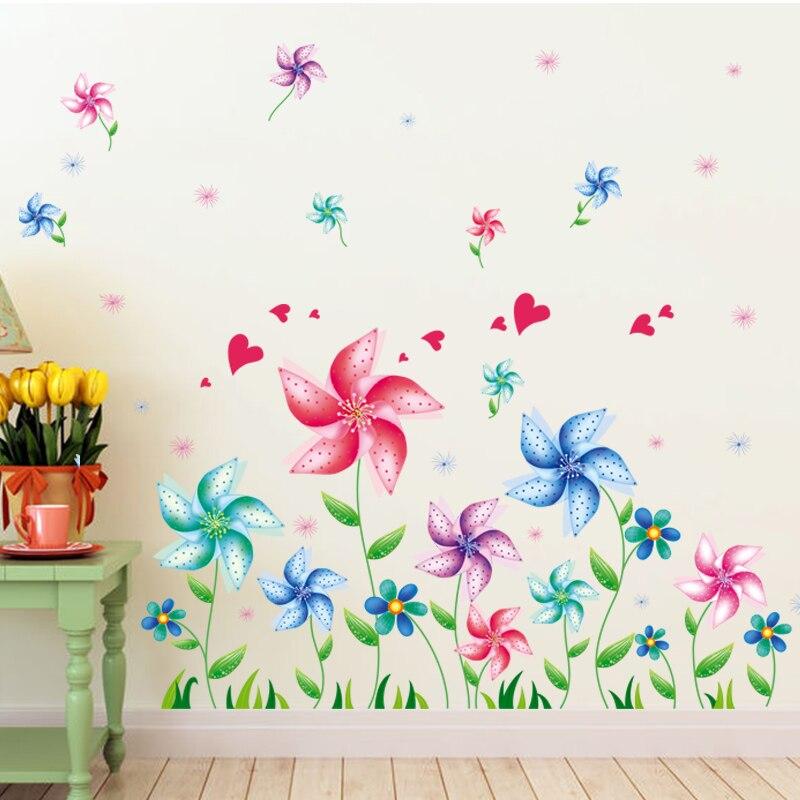 Shijuehezi Flower Windmill Wall Sticker Pinwheel Floor Wall