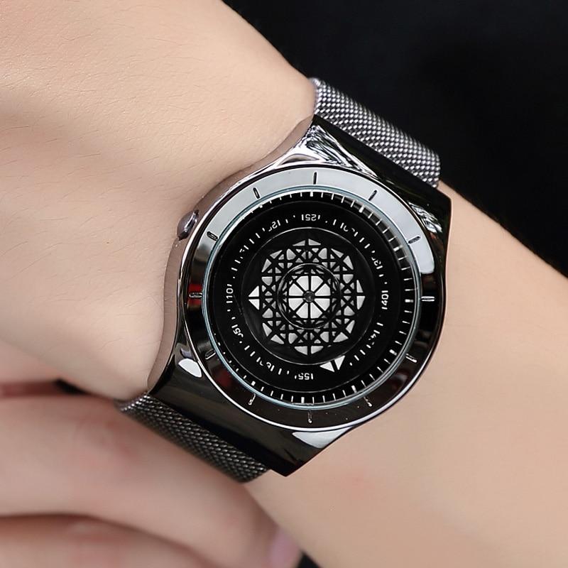 купить Watches Men Geek Creative Turntable Dial Quartz Watch Clock For Men Leather Mesh Band Male Wristwatch Relogio Masculino Gift по цене 600.98 рублей