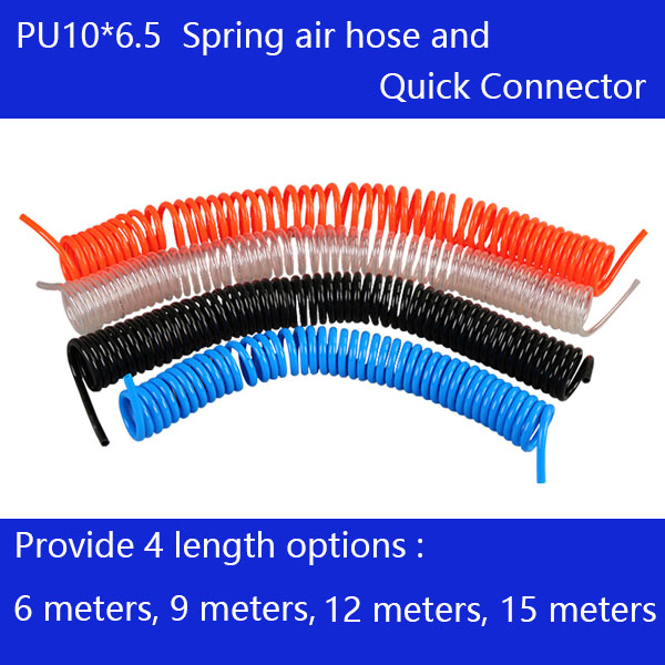 цена на Free shipping PU10*6.5mm spring air compressor hose and quick detachable connectors, Length 15M, 12M, 9M,6M Air compressor hose