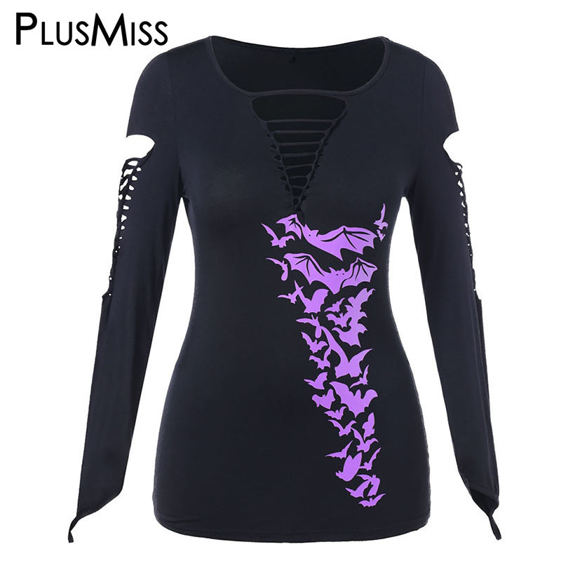 2d59b527086 US $13.84 40% OFF|PlusMiss Plus Size 5XL Halloween Printed Ripped Punk Rock  T Shirts Women Lace Up Tunic Tops Tees Sexy Hole T shirts Big Size-in ...