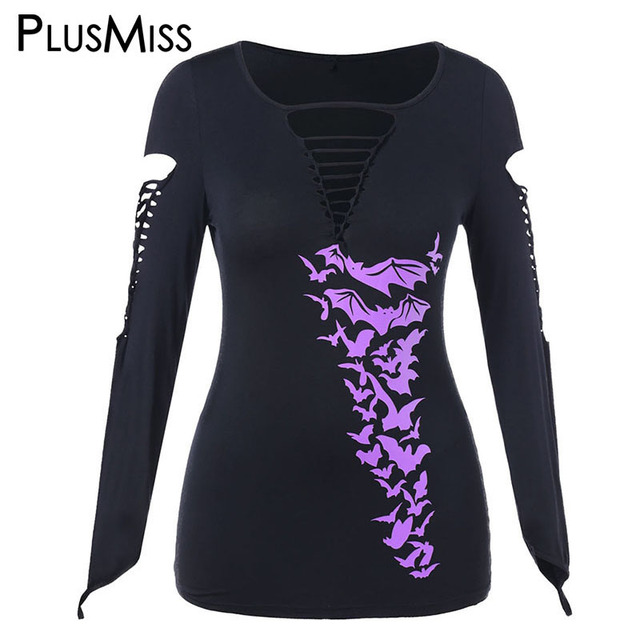 b940b9c48a1d0 PlusMiss Plus Size 5XL Halloween Printed Ripped Punk Rock T Shirts Women  Lace Up Tunic Tops Tees Sexy Hole T-shirts Big Size