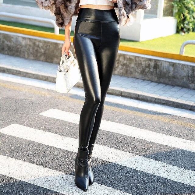 2017 Autumn Skinny PU Leather Pants Pencil Skinny Pants Women's Fashion Tight Warm Women Faux Leather Pants & Capris