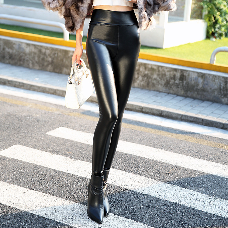 2017 Autumn Skinny PU Leather   Pants   Pencil Skinny   Pants   Women's Fashion Tight Warm Women Faux Leather   Pants   &   Capris