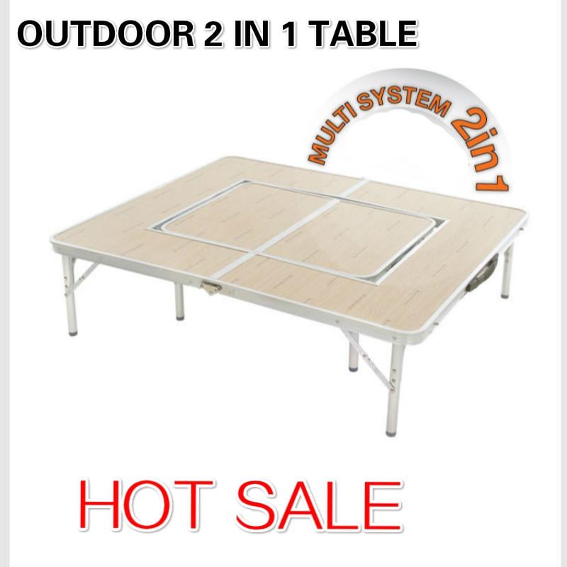 Ensembles de jardin en alliage d'aluminium en plein air Portable Barbecue gril pli pique-nique bureau Table occasionnelle