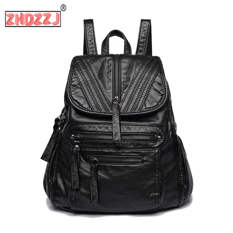 High Quality Soft Leather Sheepskin Casual Backpack New Women Bags Fashion Teenager School Bagpack Strap Laptop Bag 4 Style