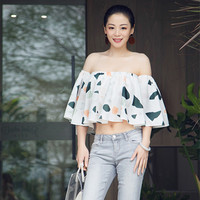 Sexy Chiffon Crop Top 2019 Summer New Brief Unique Shirt Half Flare Sleeve Holiday Blouse Loose Pretty Off Shoulder Women Shirts