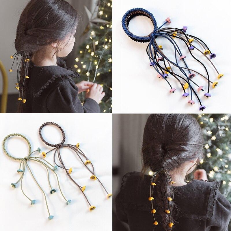 Korea 2019 Handmade Hair Ropes Girl Rubber Band Cute Hair Tie Three Strands Elastic Hair Band Women Girls Hair Accessories