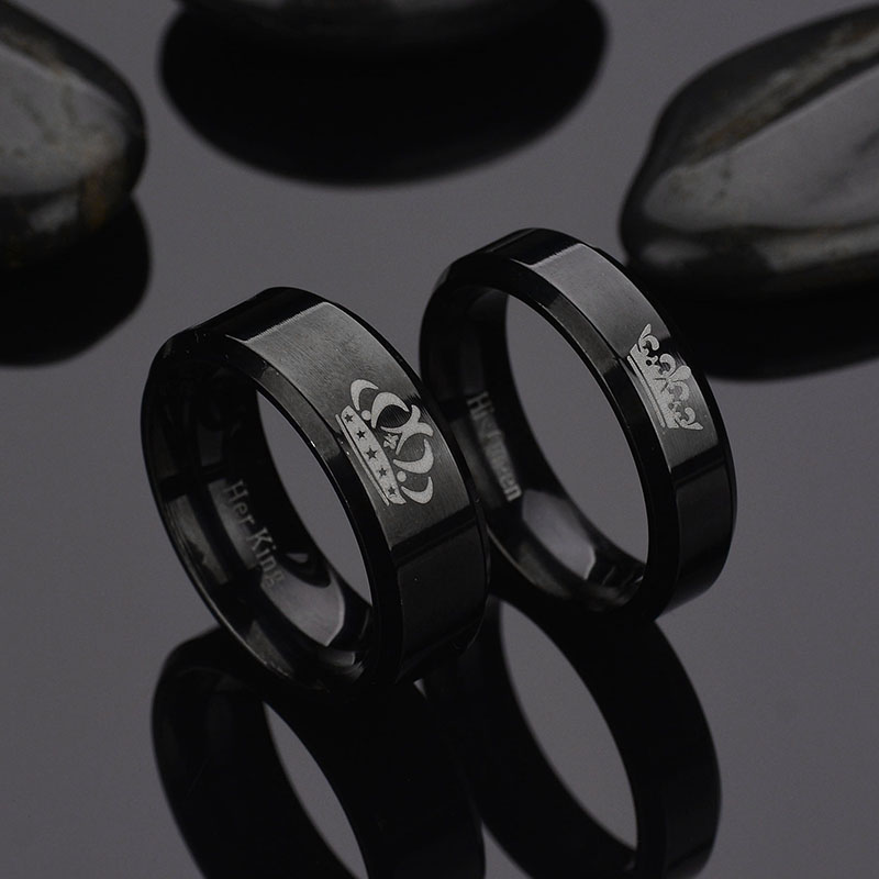 Promise Jewelry Couple Rings For Lover His Queen Her King Letter Crown Stainless Steel Wedding Ring Womens Jewelry
