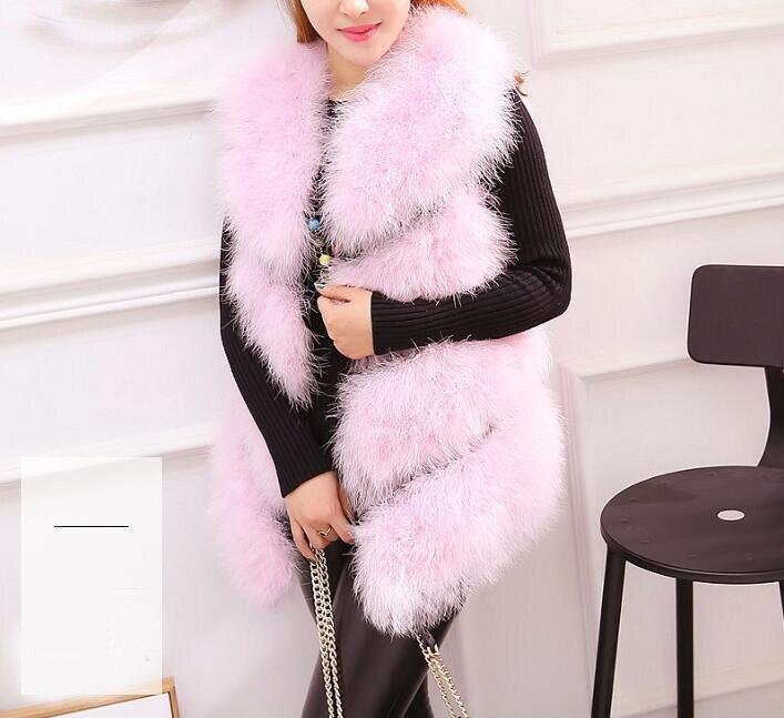 Новое поступление Винтажный стиль настоящий вязаный жилет из меха страуса жилет из натурального меха - Цвет: pink