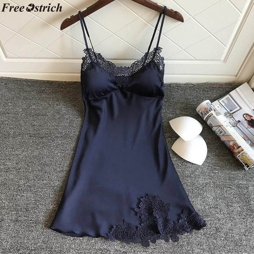 FREE OSTRICH Lace Up Lace Pajamas With Chest Pad Summer Backless Nightgown Patchwork NightDress Plus Size Lingerie Sleepwear
