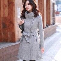 Autumn Korean Style Women Jacket Long Slim Long Sleeve Female Woolen Coat Girls Blends Wholesale Windbreaker Overcoat Streetwear