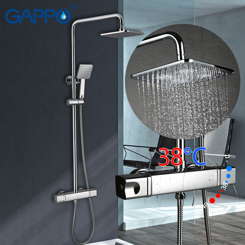GAPPO shower faucets thermostatic rainfall shower set bathroom constant temperature faucets mixer taps shower system аксессуар gappo g8001