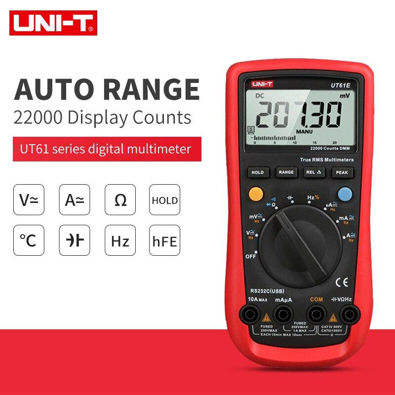 UNI-T UT61A UT61B UT61C UT61D Multimètre numérique UT61E true rms AC CC Mètre Logiciel CD et multimètre de conservation de données