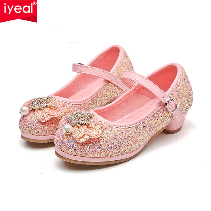 IYEAL High Heels Shoes for Girls Princess Party Dance Shoes Children Kids Sequined Glitter Shiny Shoes Snow Queen CBowknot Shoes