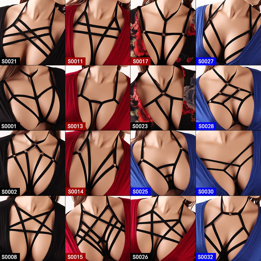 Women Strappy Harness Bra Crop Top Body Cage Pentagram Black Lingerie Harajuku Punk Plus Size Sexy Breast Belt Night Clubs Rave