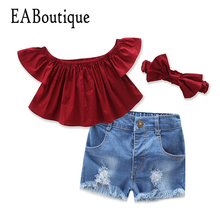 EABoutique Retro fashion girls clothes Ruffle shoulderless wine red top with hole jeans short headband girls clothing sets