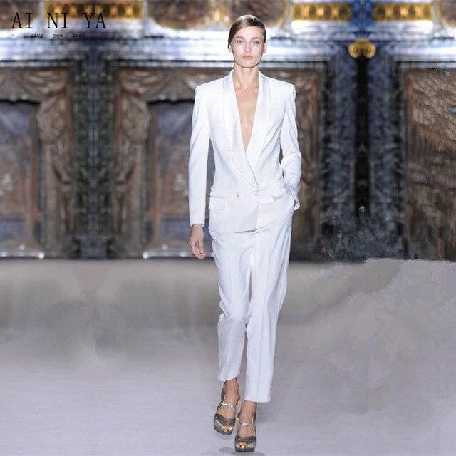 9642de6578494 Bianco PERSONALIZZATO tailleur pantalone doppio petto donne affari abiti  formali ufficio lavoro del vestito 2 pezzo