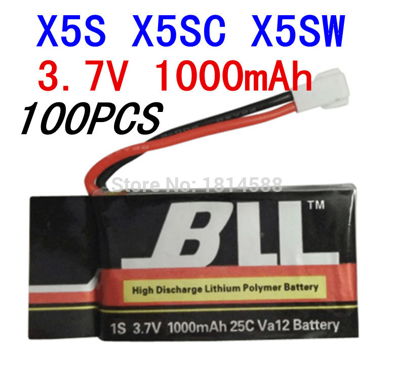 100PCS Syma X5SW X5SC X5S Spare Part 3.7V 1000Mah 25C Va32 Upgraded Lipo Battery
