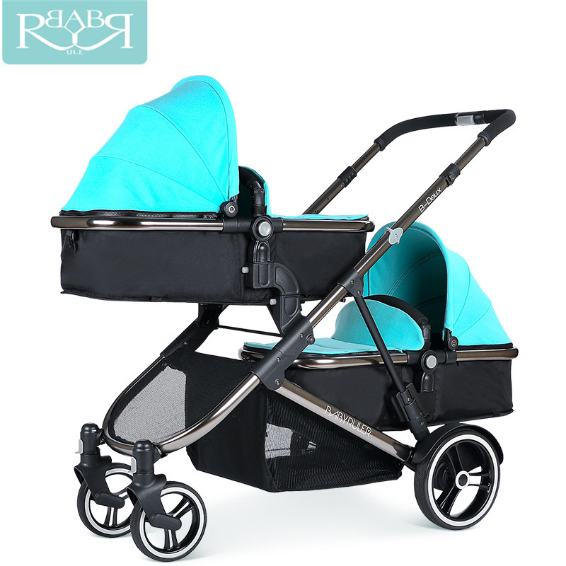 Babyruler Baby Strollers For Twins 2 in 1 carrinho poussette double jumeaux double stroller kinderwagen prams for newborns big space twins prams for children 0 4 years baby carrinho for twin with all cover sun canopy oxford fabric twin baby carrier