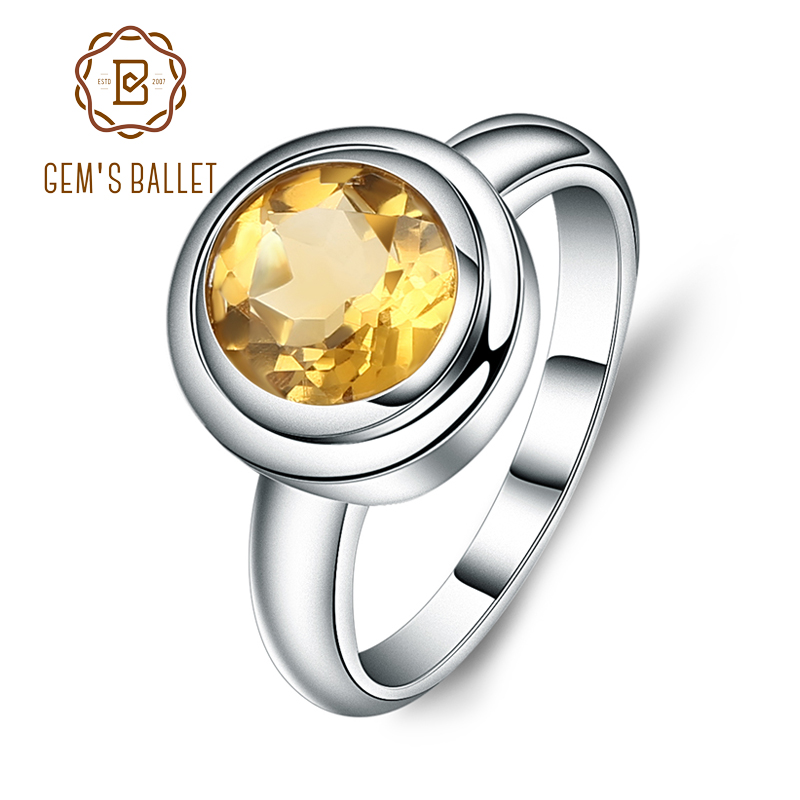 GEM'S BALLET Birthstone 2.01ct Round Natural Citrine Wedding Ring For Women 925 Sterling Silver Simple Ring Fine Jewelry