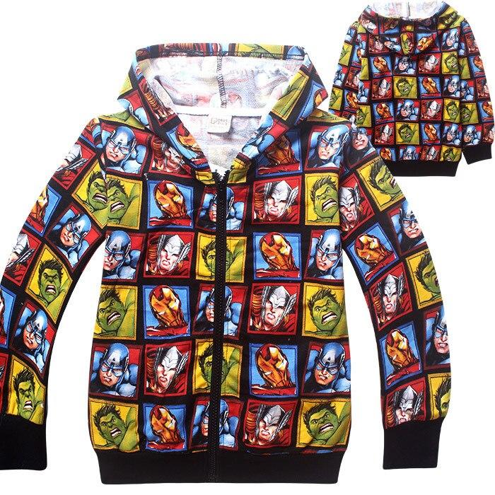 2016 New Super Hero Boys Hoodies Avengers Sweatshirts Kids Cartoon Hooded Jacket Children's Outwear Baby Clothing