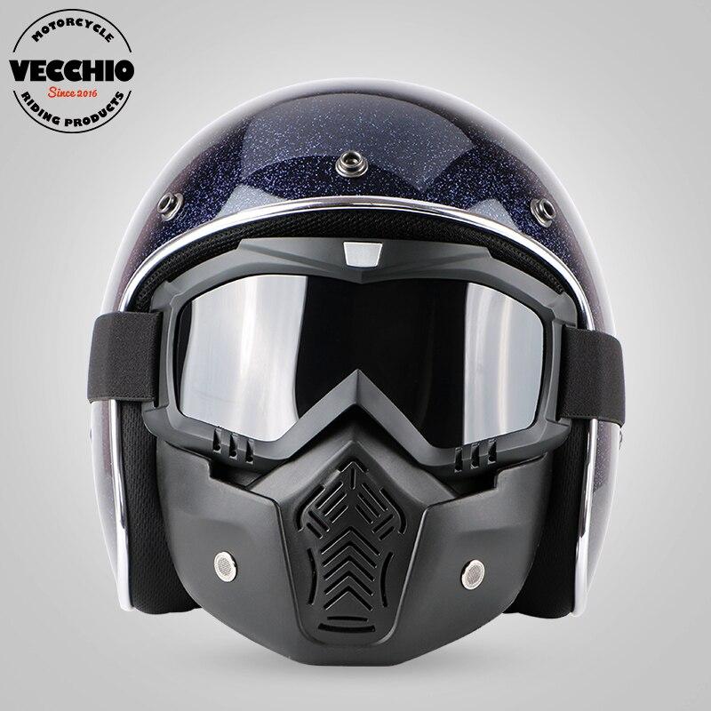 Motorcycle vintage helmet Fiberglass jet retro open face helmet motorbike motocross scooter helmet Casco safety Capacete flake ...
