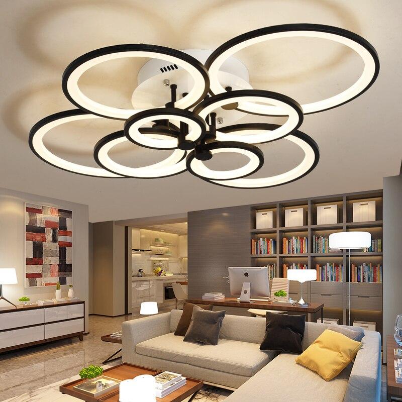 디밍 + 원격 제어 거실 연구 침실 현대 led 샹들리에 화이트 또는 블랙 표면 장착 led 샹들리에 조명기구