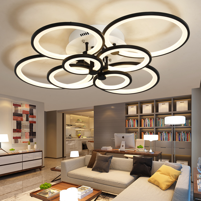 Dimming Remote Control Living Study Room Bedroom Modern Led Chandelier White Or Black Surface Mounted Fixtures